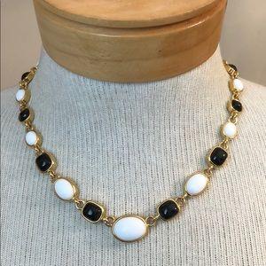 Vtg Black White Acrylic Cabochon Link Necklace